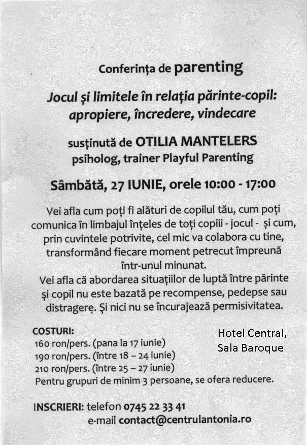 Eveniment Neamț – Conferința Otilia Mantelers